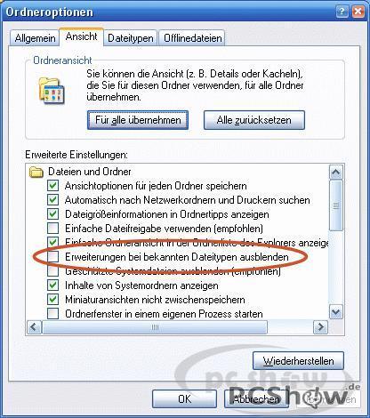 Erweiterungen bei bekannten Dateitypen ausblenden