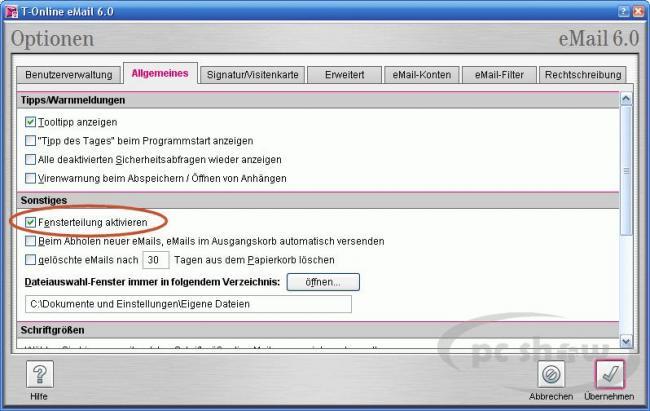 Fensterteilung in der T-Online-Software aktivieren