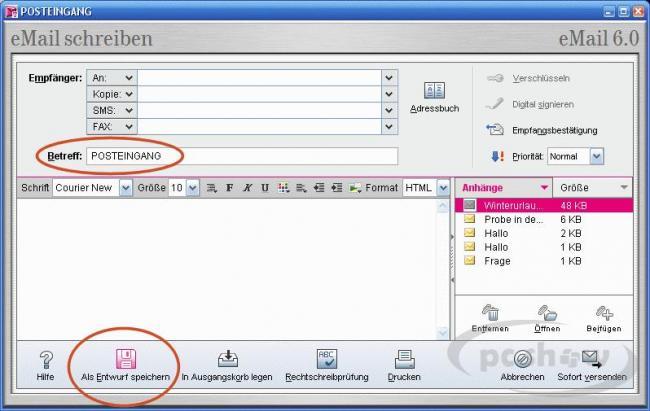Entwurf speichern in der T-Online-Software