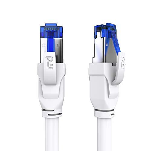 CSL - 3m CAT.8 Netzwerkkabel 40 Gbits - LAN Kabel Patchkabel Datenkabel - CAT 8 High Speed Gigabit Ethernet Cable - 40000 Mbits Glasfaser Geschwindigkeit - S/FTP PIMF Schirmung RJ45 Stecker