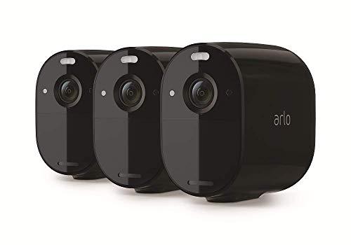 Arlo Essential Spotlight WLAN Überwachungskameras | Kabellos, Innen / Aussen, 1080p, Farbnachtsicht, Bewegungsmelder, 6 Monate Akku, 2-Wege Audio, direkte WLAN Verbindung, kein Hub benötigt, VMC2330B