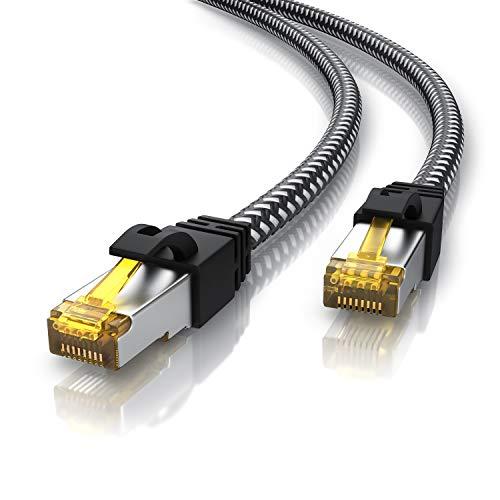 CSL - 3m CAT 7 Netzwerkkabel Gigabit Ethernet LAN Kabel - Baumwollmantel - 10000 Mbit s - Patchkabel - Cat.7 Rohkabel S FTP PIMF Schirmung mit RJ 45 Stecker - Switch Router Modem Access Point