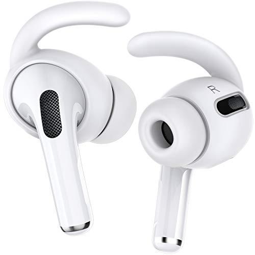 Delidigi AirPods Pro Ohrpolster 2 Paar Silikon Aufsatz Anti-Rutsch Abdeckung Airpods Zubehör [Eine Grösse Passt Alle] Kompatibel mit Apple AirPods Pro 2019 (Weiß)