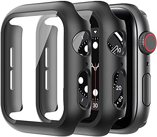 Diruite 2-Stück Hülle für Apple Watch Series 6/5/4/SE Panzerglas Schutzhülle,Hard PC Rundum Displayschutz Ultradünne Schutz Case für iWatch Series 6 44mm/Series 5 44mm/Series 4 44mm