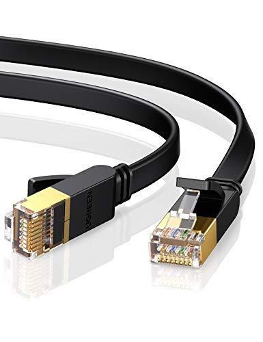 UGREEN Cat 7 Ethernet Kabel 10Gbit/s 600Mhz Lan Kabel Flaches Netzwerkkabel Cat7 FTP Kabel mit vergoldeter RJ45 kompatibel mit Router, Modem, Switch, PS5/4/3 schwarz (5M)