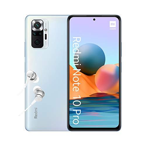 Xiaomi Redmi Note 10 Pro Smartphone + Kopfhörer (16,94cm (6,67') AMOLED Display 120Hz, 6GB+128GB Speicher, 108MP Quad-Rückkamera, 13MP Frontkamera, Dual-SIM, Android 11) Blau - [Exklusiv bei Amazon]