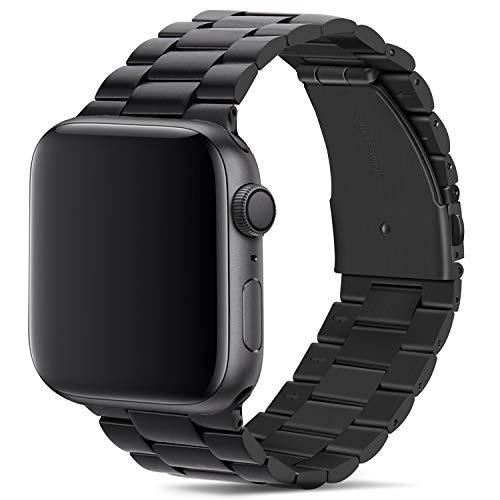 Tasikar Armband Kompatibel mit Apple Watch Armband 42mm 44mm Prämie Edelstahl Metall Ersatz Armband für Apple Watch Series 6 Series 5 Series 4 Series 3/2 /1, SE (Schwarz)