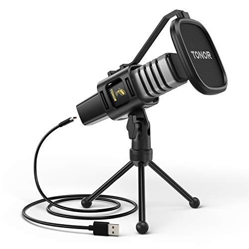 TONOR USB Mikrofon Kondensator Computer PC Mikrofon mit Ständer, Popfilter, Mikrofonspinne für Streaming, Podcasting, YouTube, Voice-Over, Skype, Twitch, Discord, kompatibel mit Laptop Desktop, TC30
