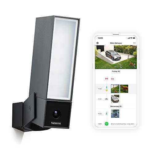 Netatmo Smarte Überwachungskamera Außen, Wlan, Integrierte Beleuchtung , Bewegungserkennung, Nachtsicht, Ohne Abonnement, NOC01-DE (Presence)