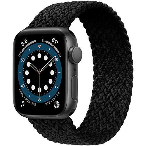 JONWIN Geflochtenes Solo Loop Kompatibel mit Apple Watch Armband,Elastic Nylon Sport Ersatzband für iWatch Serie 6/5/4/3/2/1,SE,Black,8