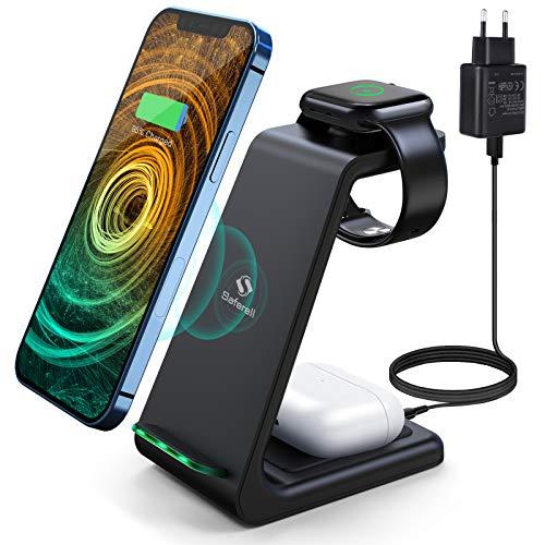 Saferell Wireless Charger 3 in 1 Induktive Ladestation Kabelloser Ladegerät mit Adapter, Kompatibel für iPhone 12/11 Pro Max/XS/XR/X/8/8 Plus,iWatch 5/4/3/2/1, AirPods Pro, Samsung S10 S9 S8 Huawei