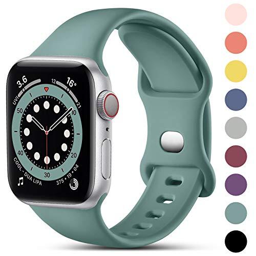 CeMiKa Kompatibel mit Apple Watch Armband 38mm 40mm 42mm 44mm, Ersatz Armband aus Silikon für Sport Armbänder Kompatibel mit iWatch Armband SE Series 6 5 4 3 2 1, 38mm/40mm-S/M, Kieferngrün