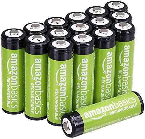 Amazon Basics AA-Batterien, wiederaufladbar, vorgeladen, 16 Stück (Aussehen kann variieren)