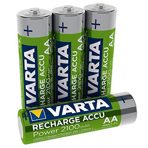 VARTA Rechargeable Accu Ready2Use vorgeladener AA Mignon Ni-Mh Akku (4er Pack. 2100 mAh) , wiederaufladbar ohne Memory-Effekt - sofort einsatzbereit