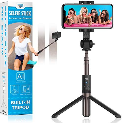 Power Theory Bluetooth Selfie Stick mit Handy Stativ und Fernauslöser - Selfiestick für iPhone 12 11 Pro Max XS X XR SE 8 7 6s Samsung Galaxy S20 S10+ S9 S8, Huawei und alle Smartphones - Selfi Tripod