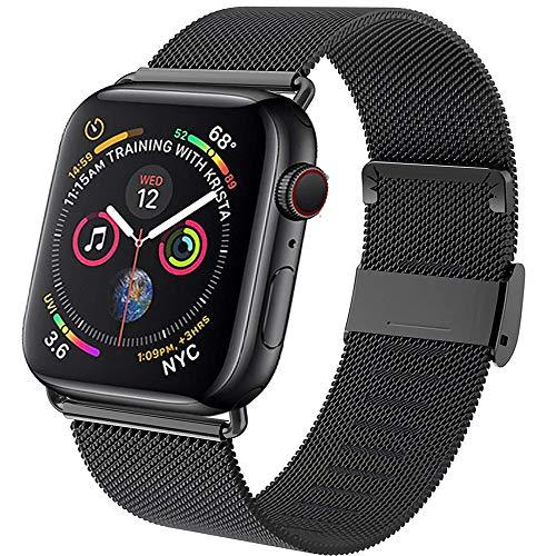 Neoda Ersatzarmband Kompatibel mit Apple Watch Armband 42mm 44mm, Metal Edelstahl Einstellbar Armband mit Magnet Kompatibel mit iWatch Serie 6/5/4/3/2/1/SE - Darkschwarz