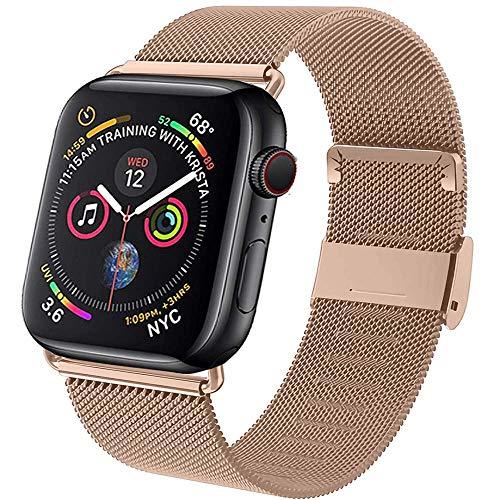 Neoda Ersatzarmband Kompatibel mit Apple Watch Armband 38mm 40mm, Metal Edelstahl Einstellbar Armband mit Magnet Kompatibel mit iWatch Serie 6/5/4/3/2/1/SE - Roségold