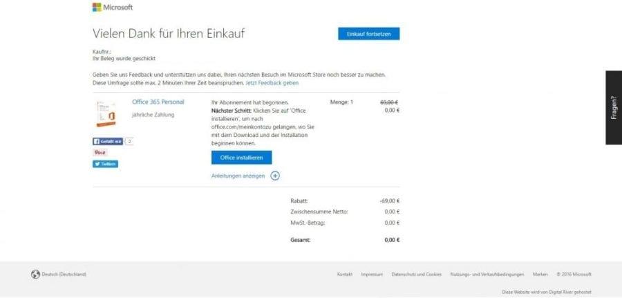 Office 365 installieren: Bestellvorgang von Office 365