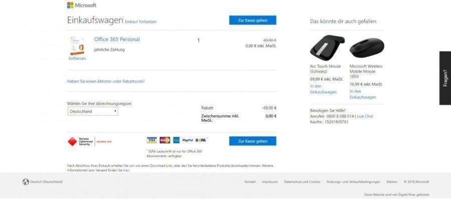 Office 365 installieren: Einkaufswagen mit Office 365