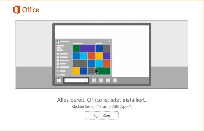 Office 365 ist fertig installiert
