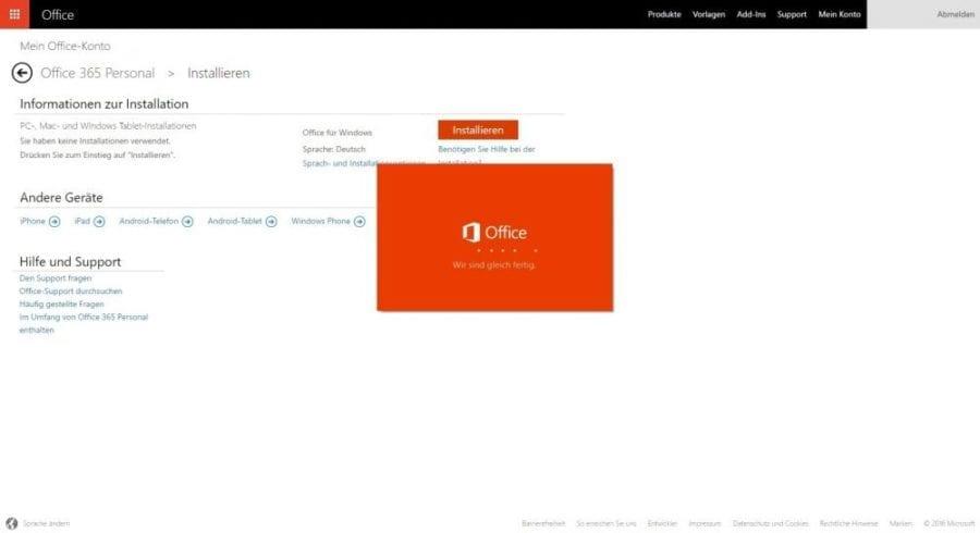 Office 365 installieren: Office 365 wird vorbereitet