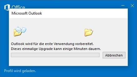 Outlook wird für die Nutzung nach dem Upgrade vorbereitet