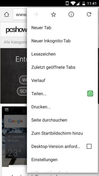 Menü in Chrome von Android 6