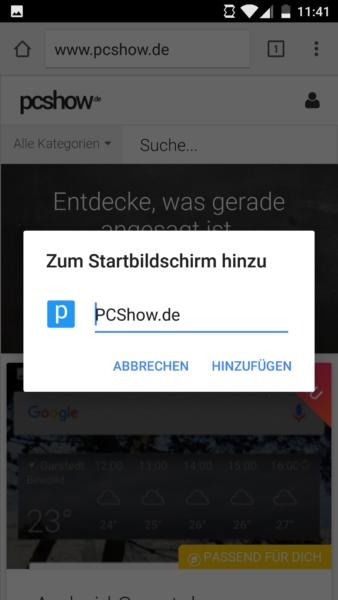 Verknüpfung erstellen in Android 6