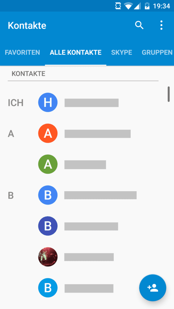 Alle Kontakte in Android 6