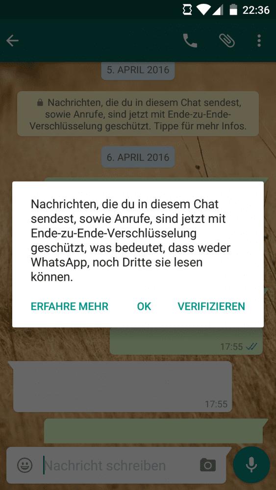 WhatsApp mit Ende-zu-Ende-Verschlüsselung