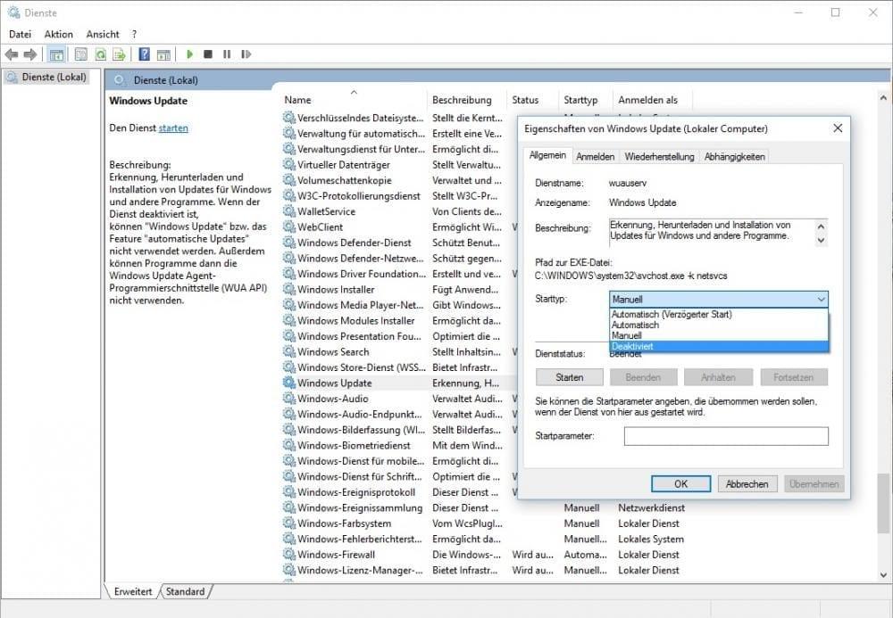 Windows 10 automatische Updates deaktivieren