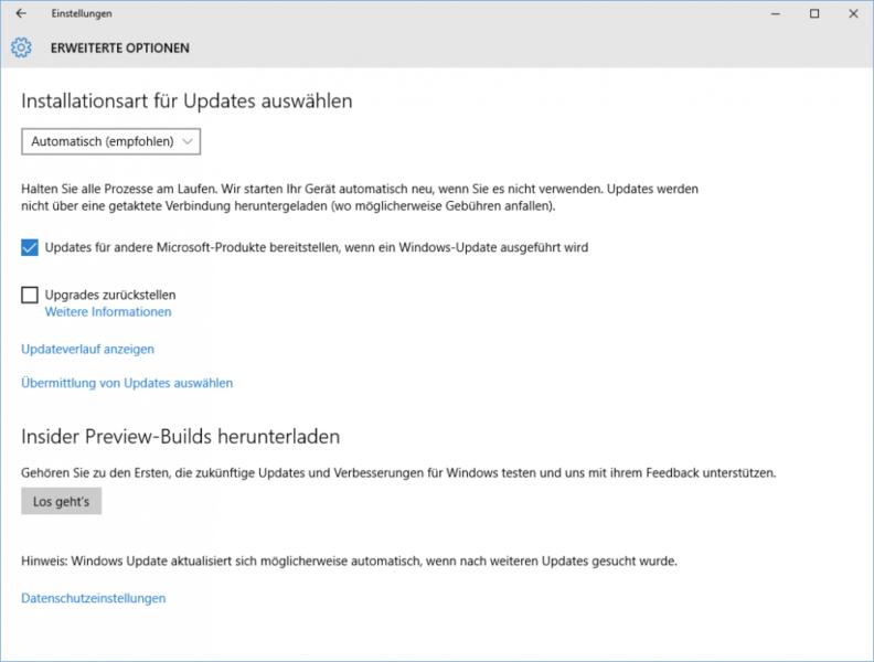 Automatische Updates in Windows 10 einstellen