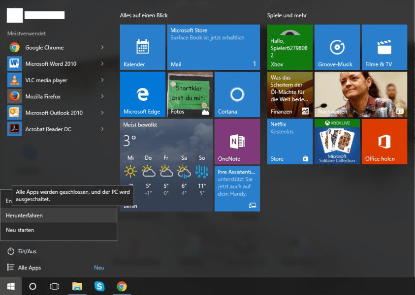 Computer in Windows 10 ausschalten