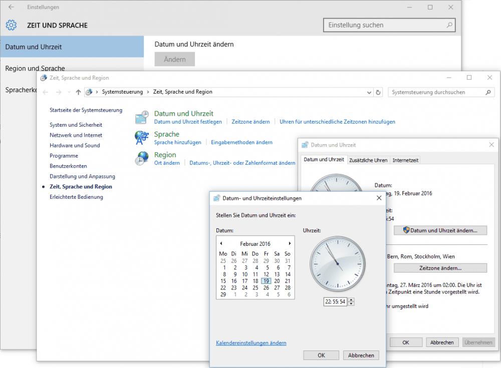 Datum und Uhrzeit in Windows 10 ändern