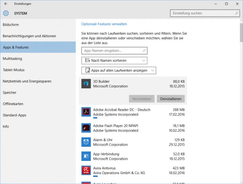 Programm deinstallieren in Windows 10