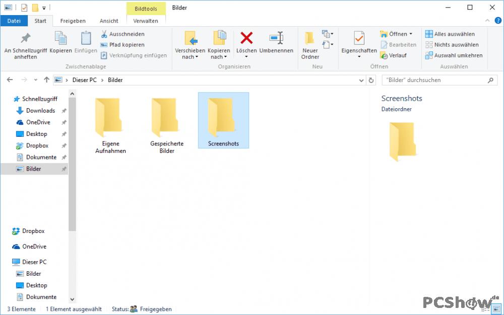 Screenshot-Ordner in Windows 10