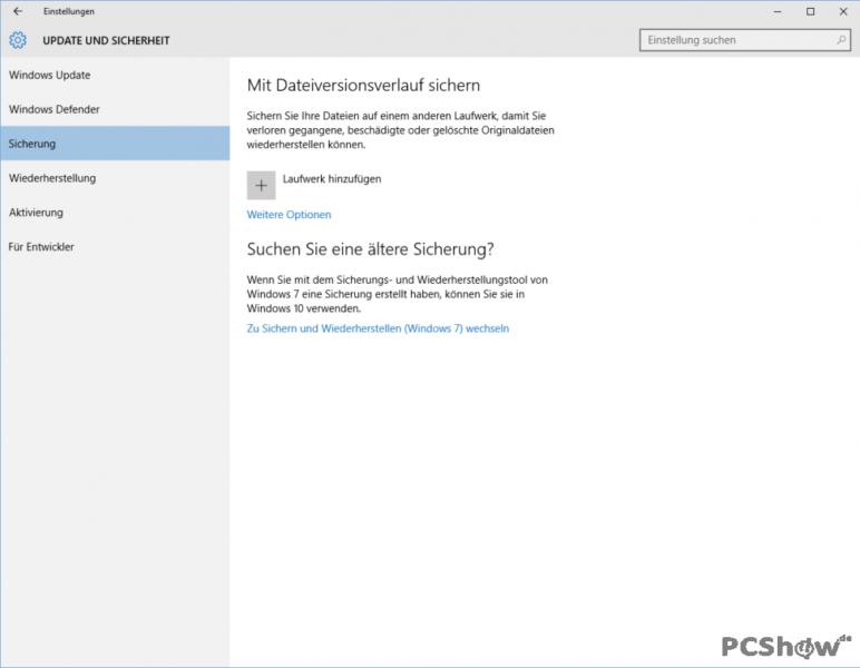Sicherung in Windows 10 einrichten