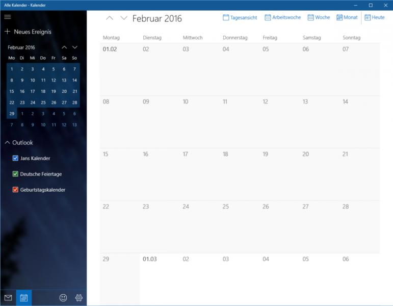 Windows 10 Kalender App