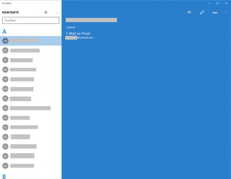 Windows 10 Kontakt anzeigen