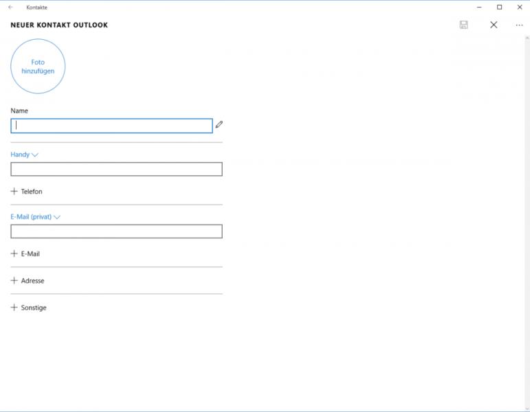 Windows 10 Kontakt erstellen