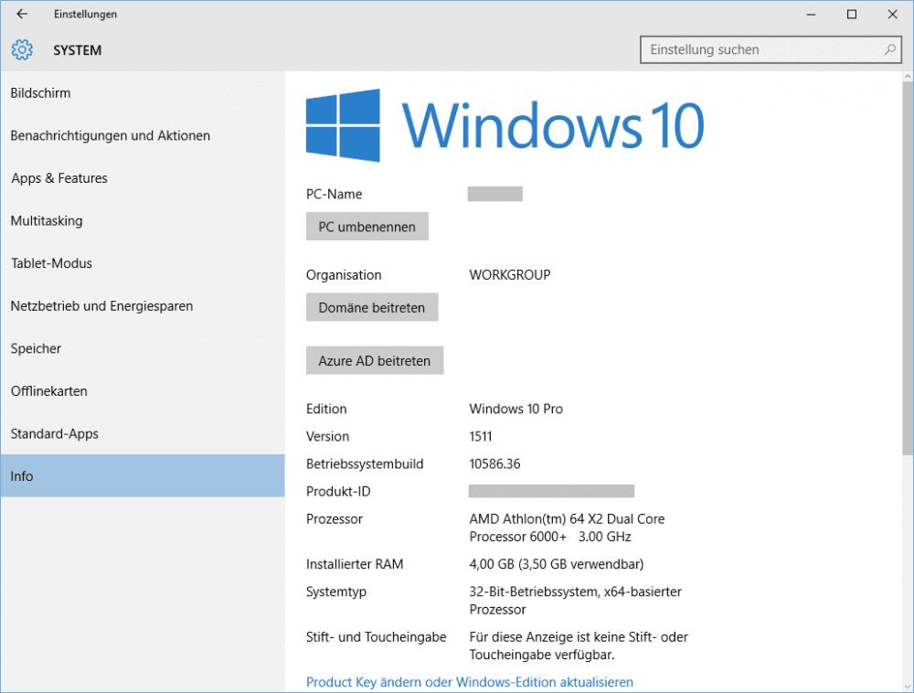 Windows 10 Systeminfo