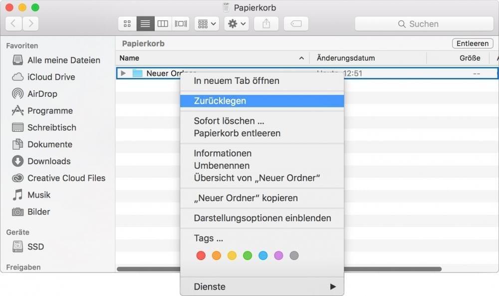 Zurücklegen aus dem Papierkorb im Mac OS X