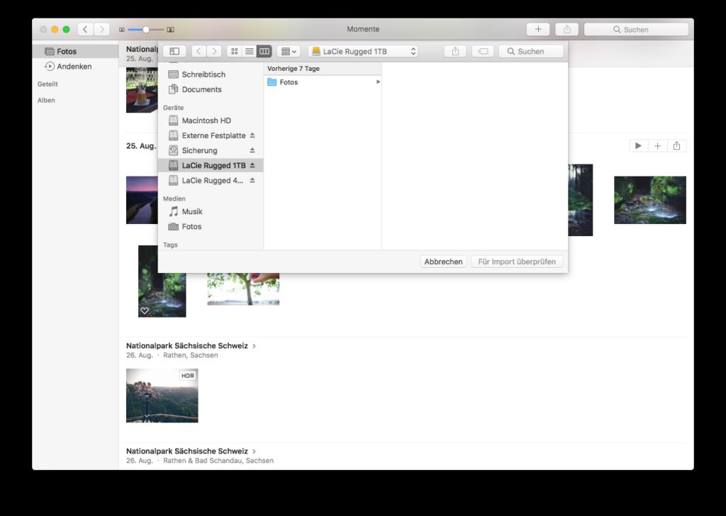 Bilder übertragen per Importieren-Dialog am Mac