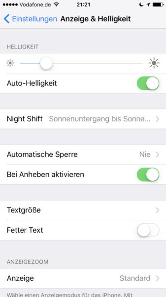 Helligkeit einstellen beim iPhone automatisch einstellen