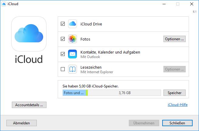 Einstellungen iCloud für Windows 10