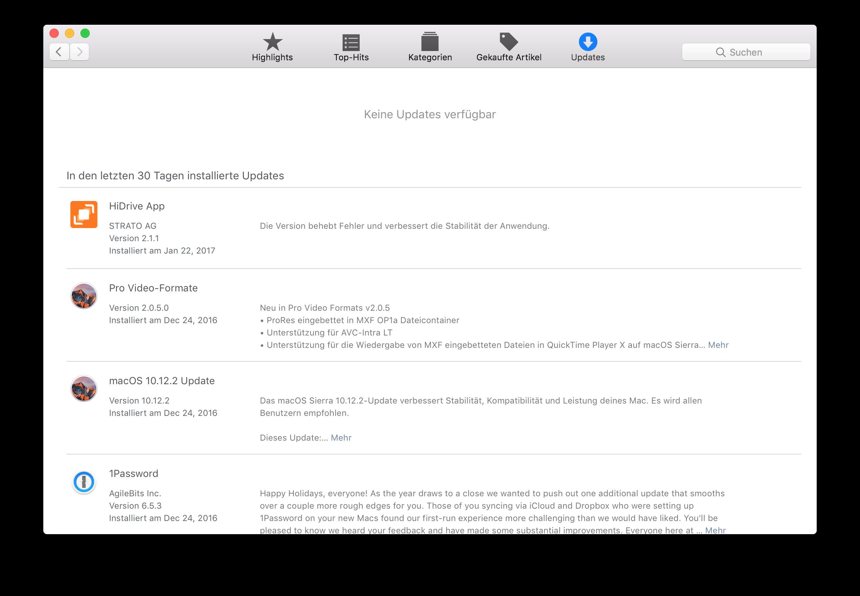 Apps aktualisieren mit Mac App Store