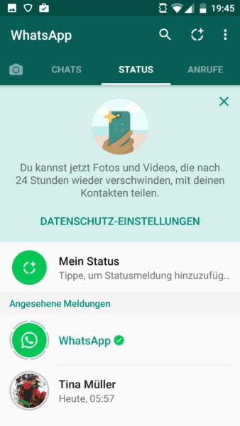 WhatsApp Status-Seite