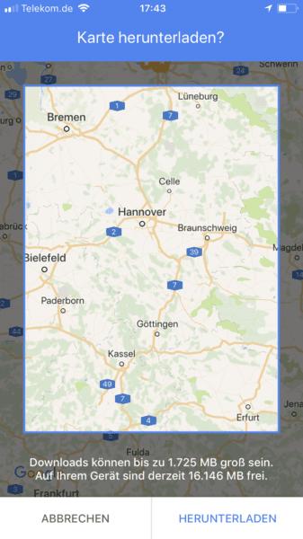 Offline Maps: Bereich auswählen