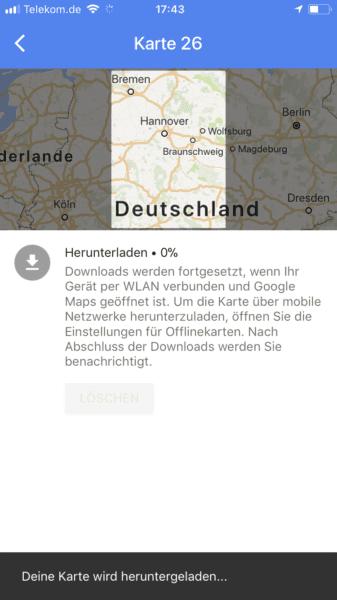 Offline Maps: Herunterladen
