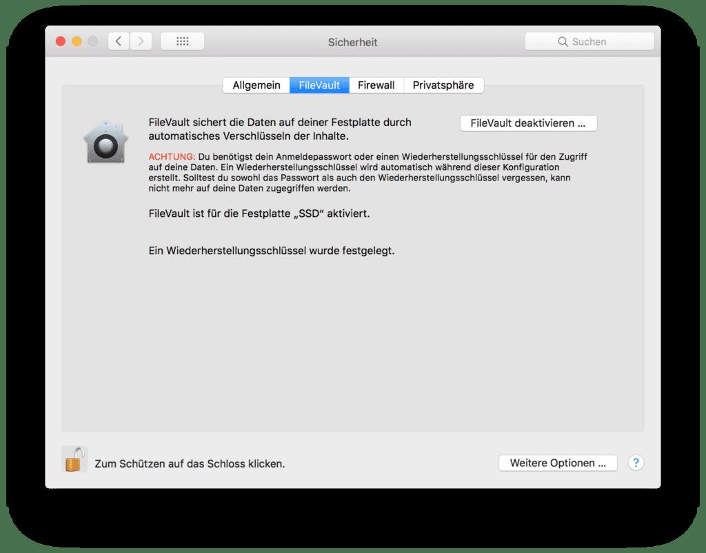 Mac Festplatte verschlüsseln